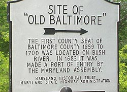 [photo, Site of Old Baltimore historical marker, Abingdon (Harford County), Maryland]