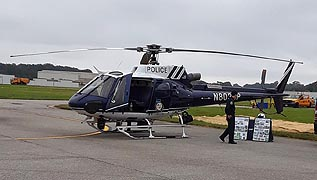 [photo, Baltimore County Police Aviation Unit helicopter, Martin State Airport, 701 Wilson Point Road, Baltimore, Maryland.]