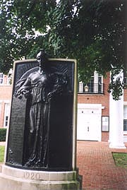 [photo, World War I Monument (1920), by Edward Berge, Calvert County Courthouse, Prince Frederick, Maryland]