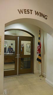 [photo, Administrative Office entrance, Courthouse, west wing, 109 Market St., Denton, Maryland]
