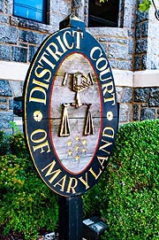 [photo, District Court sign, 310 Gay St., Cambridge, Maryland]