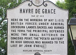 [photo, Havre de Grace War of 1812 historical marker, Havre de Grace, Maryland]