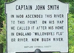 [photo, Capt. John Smith historical marker along Bush River, Abingdon, Maryland]