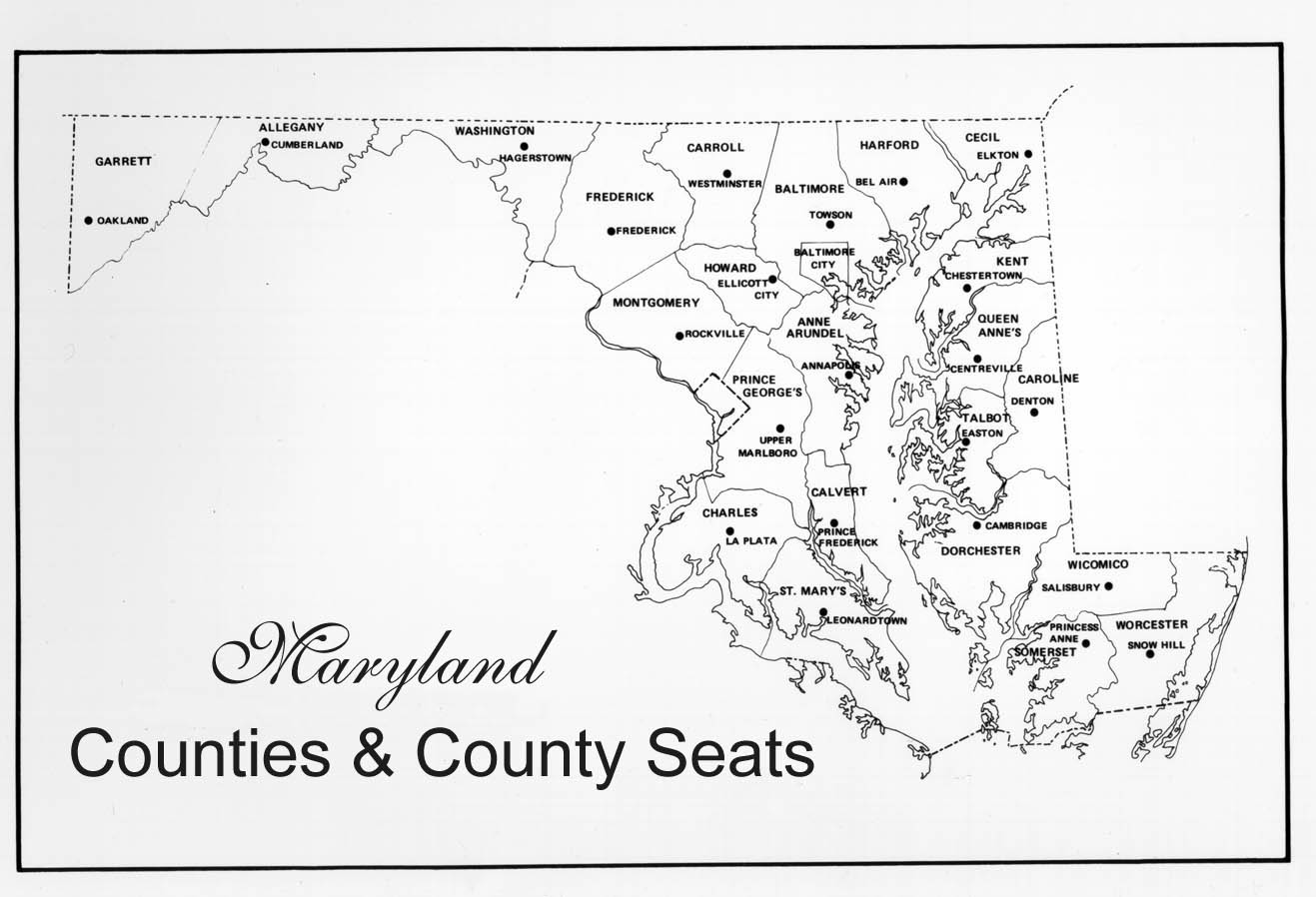 Maryland Counties Map Counties County Seats - Maryland county map