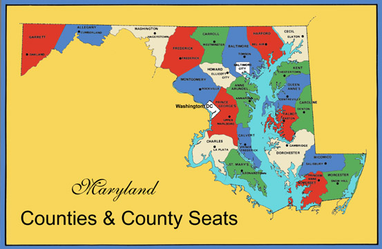 Maryland Counties Map Counties County Seats - Maryland printable map