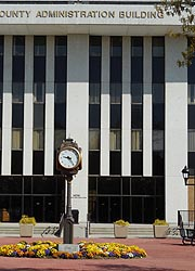 [photo, Clock at County Administration Building, Gov. Oden Bowie Drive, Upper Marlboro, Maryland]