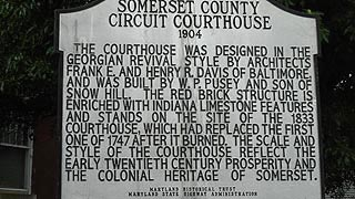 [photo, Somerset County Courthouse historical marker, 30512 Prince William St., Princess Anne, Maryland]