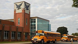 [photo, School buses at Stephen Decatur High School, 9913 Seahawk Road, Berlin, Maryland]