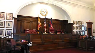 [photo, Courtroom, Worcester County Courthouse, One West Market St., Snow Hill, Maryland]