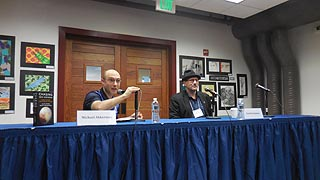 [photo, Moderator Michael Akkerman (left) & author David Grinspoon (right) discuss Chasing New Horizons: Inside the Epic First Mission to Pluto, Annapolis Book Festival, Key School, Annapolis, Maryland]