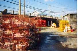 [photo, Red and yellow crab pots (traps), Chesapeake Beach, Maryland]