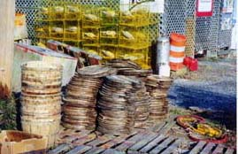 [photo, Crab baskets, tops, & yellow crab pots (traps), Chesapeake Beach, Maryland]