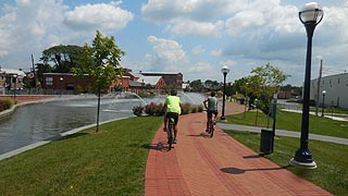 [photo, Bicycle riders, Carroll Creek Park, Frederick, Maryland]