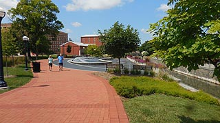 [photo, Walkers at Carroll Creek Park, Frederick, Maryland]
