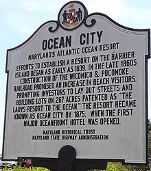 [photo, Historical marker, Ocean City boardwalk, Ocean City, Maryland]