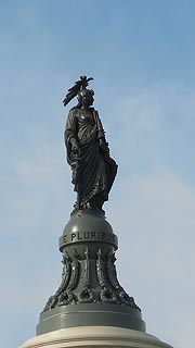 [photo, Statue of Freedom atop U.S. Capital dome (from First St., SE), Washington, DC]