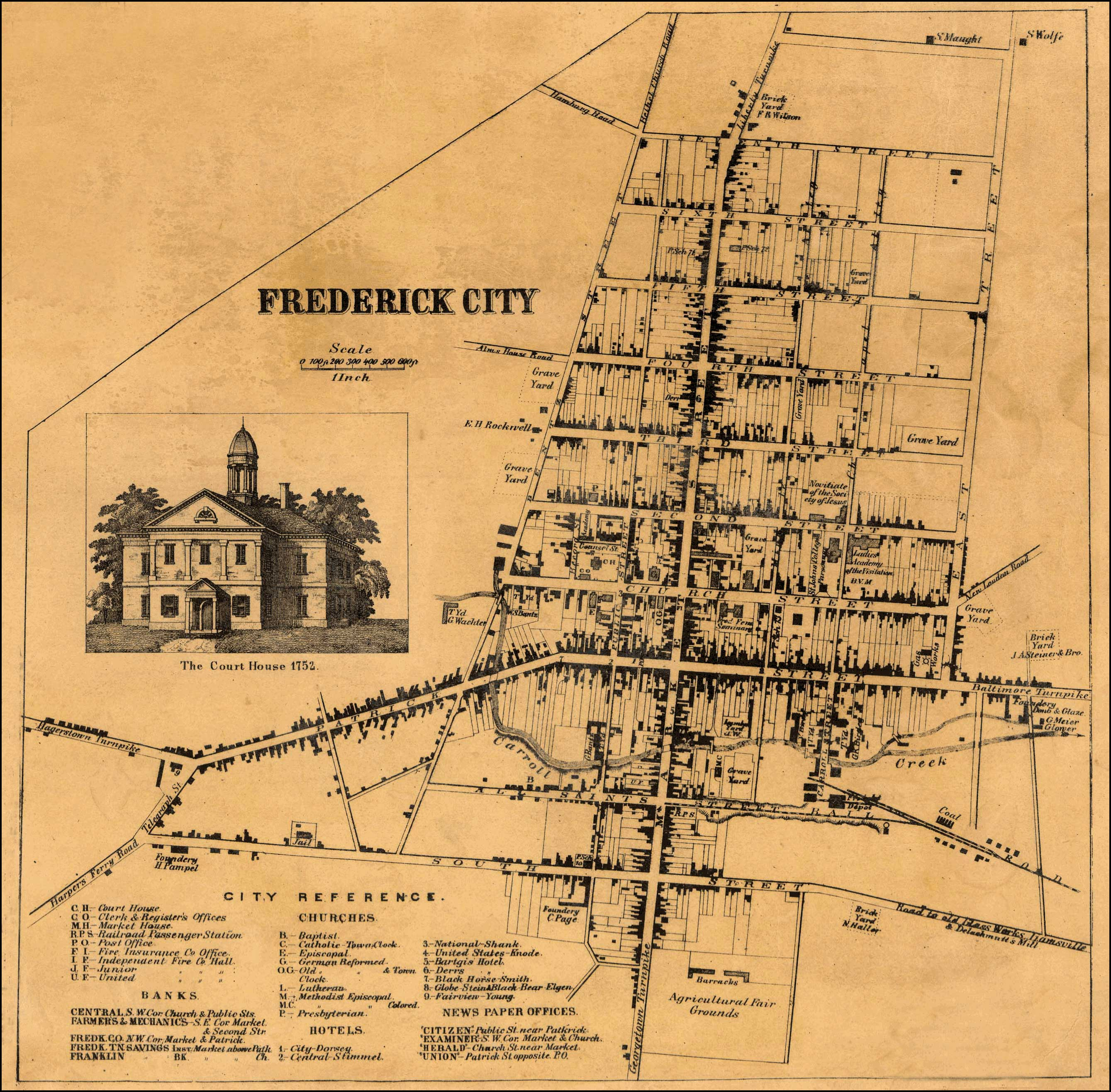 Detail of Frederick City from Isaac Bond